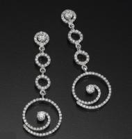 עגילי יהלומים תלויים מעוצבים - רחל