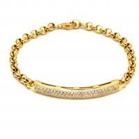 צמיד זהב עם לוחית יהלומים עבה