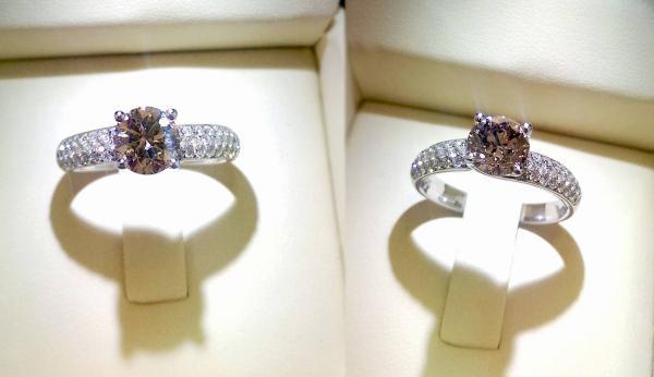 טבעת אירוסין יהלום שמפניה